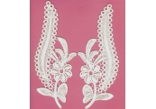 Pair Off White Rayon Venice Appliques     110