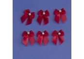 6 - Small Burgundy Bows/w Beads 212