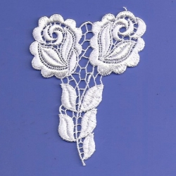 White Ice Venice Rose Applique  230