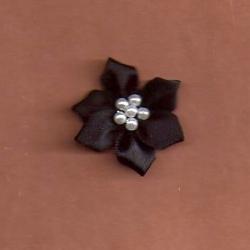 Black Floral /w Beads Applique 338