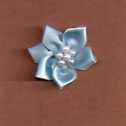 Blue Satin/w Beads Applique  349
