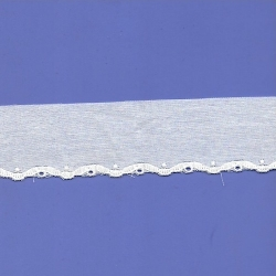 "11 3/4 Yds 1 5/8"" White Cotton Embroidery Eyelet  709X"