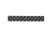 "3 3/4 Yds 1""  White/ On Black Ribbon 728X"