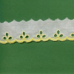 """4 1/2 Yds 1 1/4"""" White Yellow Embroidery Eyelet   735X"""