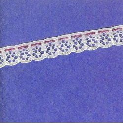 "5 Yds  5/8""  White/Pink Mock Beading Lace     2393"