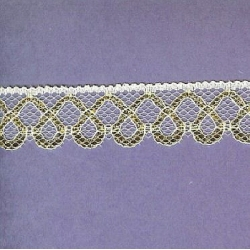 """5 Yds   1""""    White/Gold Filagree Lace  3450"""