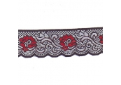 """100 Yds  2 5/8""""  Black/ Red Scalloped Lace   4307"""