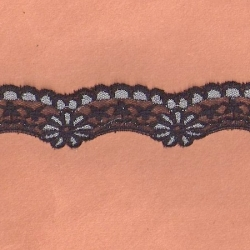 "100 Yds   1 1/4""  Black/Silver Scalloped Lace  4744"