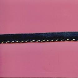 "5 Yds  5/8""  Navy/Metallic Gold Cordedge   1554"