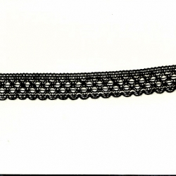 "5 Yds   3/4""    Black Crochet Cluny    1018"