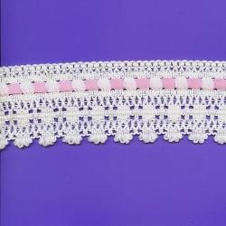 """5 Yds  2 1/4""""  Beautiful Crochet Cluny Beading   1923"""