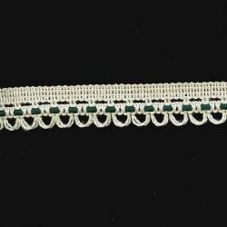 "5 Yds    7/8""   Ivory/Green Crochet Cluny  2625"
