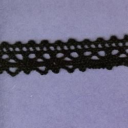 """4 Yds  3/4""""   Black Crochet Cluny  Lace   775X"""