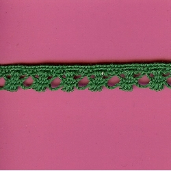 "5 Yds   1/2""    Green Crochet Cluny  3545"