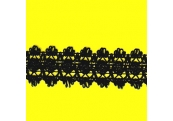 "5 Yds  1 1/2""  Black Crochet Cluny Lace   3788"