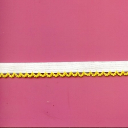 "7 Yds   1/2""    White Elastic/Yellow Loops   1861"