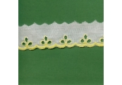 """5 Yds 1 1/4"""" White Yellow Embroidery Eyelet   4022"""