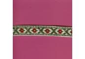 "5 Yds 3/4""  Olive/Red/White Native Jacquard   1213"