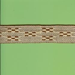 "5 Yds 1 3/8"" Cream/Brown Native Design Jacquard   1266"