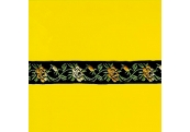 "5 Yds 3/4""  Black Yellow Metallic Jacquard   1373"