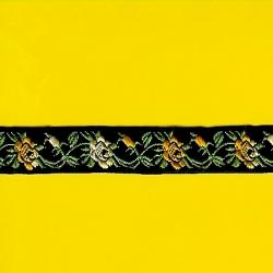 """5 Yds 3/4""""  Black Yellow Metallic Jacquard   1373"""