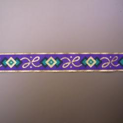 "5 Yds  1 1/4""  Aqua/Purple/Gold Metallic Jacquard  1379"