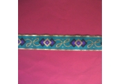 "5 Yds  1 1/4""   Aqua/Purple Metallic Jacquard   1380"