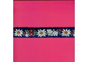 "5 Yds   1""    Blue Floral Jacquard   1408"