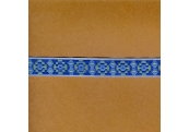 "5 Yds   5/8""  Native  Blue Jacquard  1412"