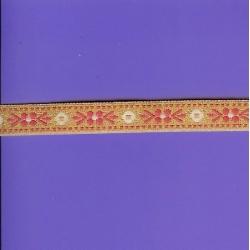 """5 Yds   5/8""""    Pink/Gold Metallic Jacquard   1431"""