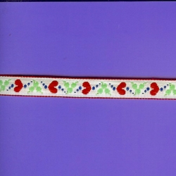 """5 Yds   1/2""""    White Red Hearts Jacquard   1441"""