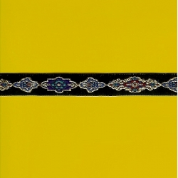 "5 Yds 1/2""  Black/Turquoise/Purple/ Gold Jacquard   1723"