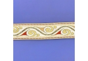 """5 Yds  1 1/2""""  Off White/Gold/Rust Jacquard  4664"""