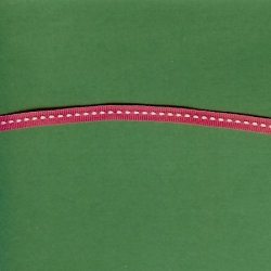 "5 Yds 1/4"" Poly Fuchsia White Stitch Grosgrain Ribbon 3580"
