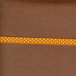 """5 Yds 3/8""""  Tangerine/White Polka Dot Grosgrain Ribbon  3597"""