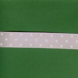 "5 Yds 7/8""  Pink/White Dot Grosgrain Ribbon  4039"