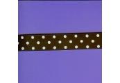 """7 Yds 7/8"""" Brown/White Dot Grosgrain Ribbon   4042"""