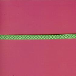 """5 Yds  1/4""""  Green/White Diamond Ribbon  4181"""