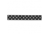 """5 Yds 7/8""""  Black/White Dot Grossgrain Ribbon 4494"""