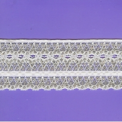 """5 Yds 2 1/4"""" White/Silver Stretch Lace  4217"""