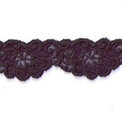 "100 Yds   2""  Heavy Textured Black Stretch Lace  4253"