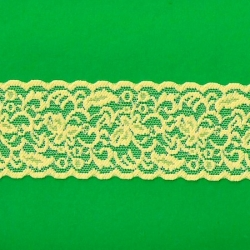 """5 Yds  2 1/2""""  Yellow Stretch Lace 4272"""