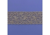 """5 Yds  2 1/4""""  Brown/Silver Stretch Lace  4291"""
