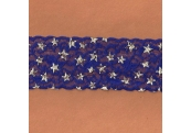 "5 Yds  2 3/8""  Amethyst Blue/Silver Stars Stretch Lace  4316"