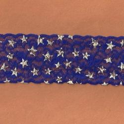 "5 Yds  2 3/8""  Amethyst Blue/Silver Stars Stretch Lace  4316"