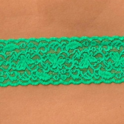"""50 Yds  2 1/2""""  Neon Green Stretch Lace 4330"""