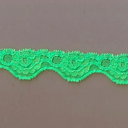 """100 Yds  1 1/8""""  Neon Mint  Scalloped Stretch Lace  4334"""