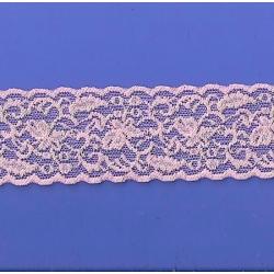 "50 Yds  2 3/8""   Pink/Silver Fillagree Stretch Lace 4351"