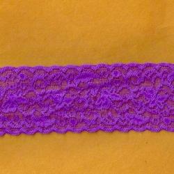 "5 Yds  2 1/2""  Neon Purple Stretch Lace  4408"