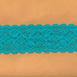 "5 Yds 3""  Turquoise Stretch Lace 4474"
